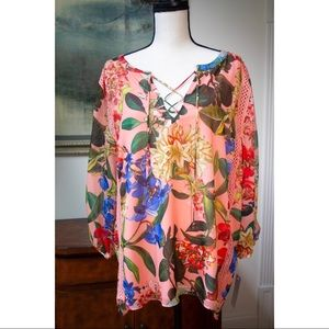 NWT Gibson Latimar Coral floral blouse